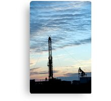 Drilling Rig at sunset  Canvas Print