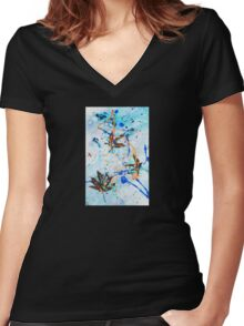 Blue Candy with Leaves! Women's Fitted V-Neck T-Shirt
