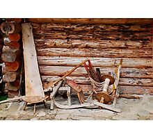 Wooden Objects Outside Forest Hut Photographic Print