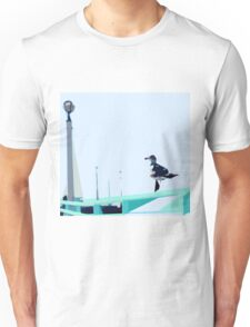 bird with blue background and green fence Unisex T-Shirt