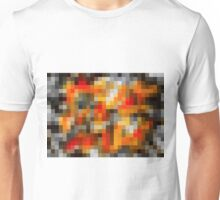 red orange black and white pixel abstract background Unisex T-Shirt