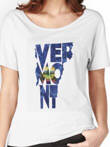 Vermont Typographic Map Flag Women's Relaxed Fit T-Shirt