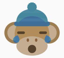 Hat Monkey Emoji Teary Eyes and Sad Look Baby Tee