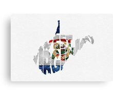 West Virginia Typographic Map Flag Canvas Print