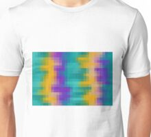 yellow purple and green pixel abstract background Unisex T-Shirt