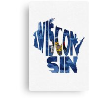 Wisconsin Typographic Map Flag Canvas Print
