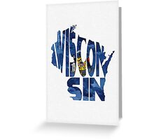 Wisconsin Typographic Map Flag Greeting Card