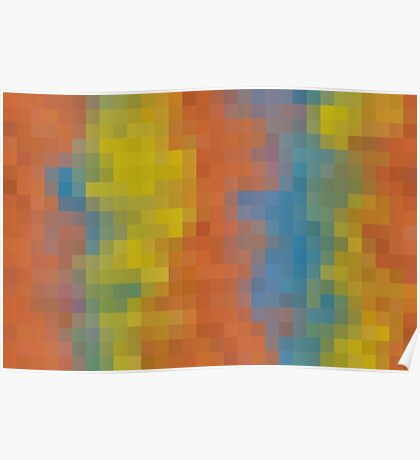 orange blue and yellow pixel abstract background Poster