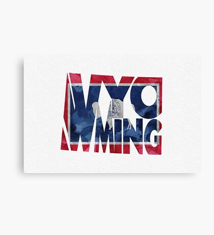 Wyoming Typographic Map Flag Canvas Print