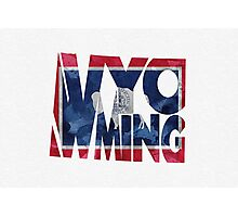Wyoming Typographic Map Flag Photographic Print