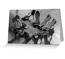 Comme il faut, tango dancing shoes, b & w Greeting Card