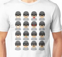 Mask Thief Emoji 16 Different Facial Expressions Unisex T-Shirt