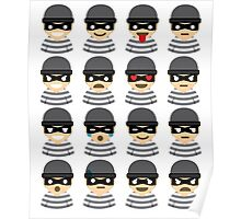 Mask Thief Emoji 16 Different Facial Expressions Poster