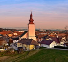 Village and church in warm sundown light II | landscape photography Sticker