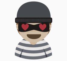 Mask Thief Emoji Heart and Love Eyes Kids Tee