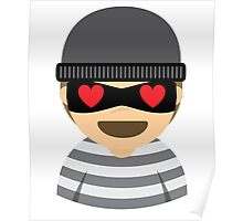 Mask Thief Emoji Heart and Love Eyes Poster