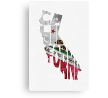 California Typographic Map Flag Canvas Print