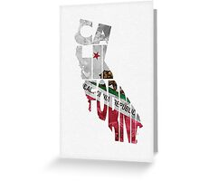 California Typographic Map Flag Greeting Card