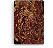 Rose Woodcut Canvas Print