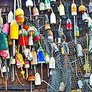 Buoys on Wall - Cape Neddick - Maine by Steven Ralser