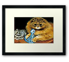 Vintage Doll Cat by Louis Wain Framed Print