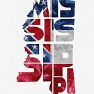 Mississippi Typographic Map Flag by A. TW