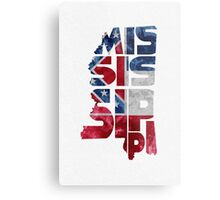 Mississippi Typographic Map Flag Metal Print