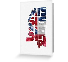 Mississippi Typographic Map Flag Greeting Card