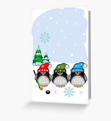 Hockey Penguins with snowflakes hats in a snowy landscape Greeting Card