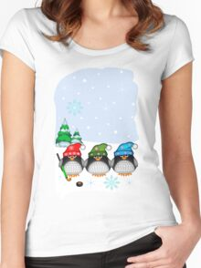 Hockey Penguins with snowflakes hats in a snowy landscape Women's Fitted Scoop T-Shirt