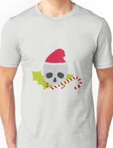 Chirstmas Skull with candy cane Unisex T-Shirt