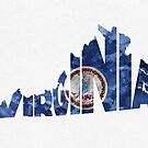 Virginia Typographic Map Flag by A. TW