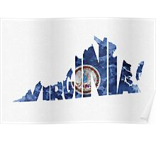 Virginia Typographic Map Flag Poster