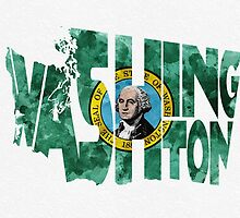 Washington Typographic Map Flag by A. TW