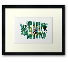 Washington Typographic Map Flag Framed Print