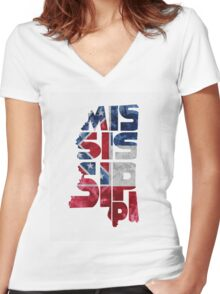 Mississippi Typographic Map Flag Women's Fitted V-Neck T-Shirt