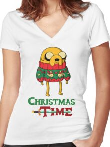 Christmas Jake - Adventure Time Women's Fitted V-Neck T-Shirt