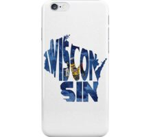 Wisconsin Typographic Map Flag iPhone Case/Skin