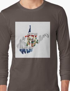 West Virginia Typographic Map Flag Long Sleeve T-Shirt