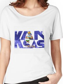 Kansas Typographic Map Flag Women's Relaxed Fit T-Shirt