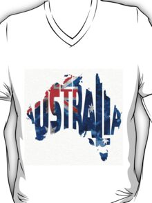 Australia Typographic World Map T-Shirt