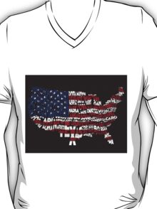 United States Typographic Map Flag Black Background T-Shirt