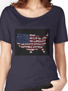 United States Typographic Map Flag Black Background Women's Relaxed Fit T-Shirt