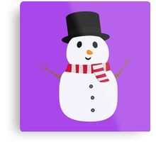 Happy Snowman with winterscarf Metal Print