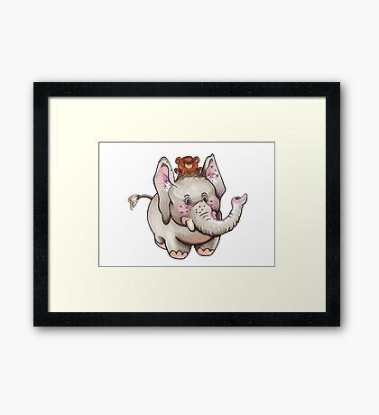 Elefant mit Bär Framed Print