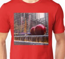 A Christmas Card from New York City – Two Giant Red Balls and Radio City Music Hall  Unisex T-Shirt