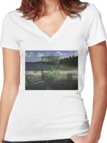 beachtrees.jpg Women's Fitted V-Neck T-Shirt