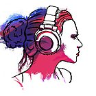 Girl with headphones by Richard Eijkenbroek
