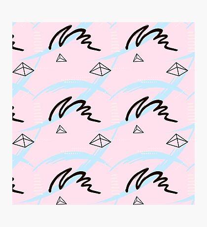 brush pink blue pattern Photographic Print