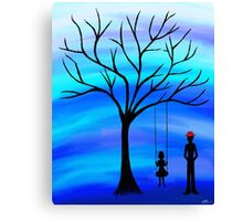 Father and Daughter Blue Canvas Print